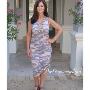 Camouflage Double V Tank Dress